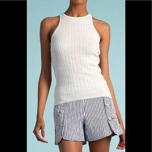Trina Turk Striped Optic Shorts Blue 12 Nautical